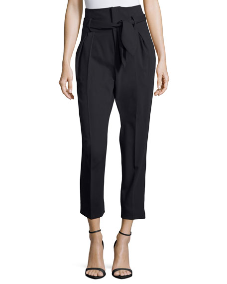 Iro Fisheri High-Waist Cropped Wool Pants, Black