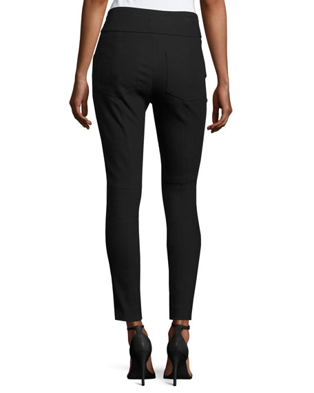 Kalpen Fitted Poplin Pants, Black