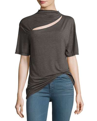 Osland Slit-Front Short-Sleeve Top, Gray