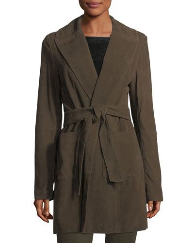 Belted Suede Wrap Coat