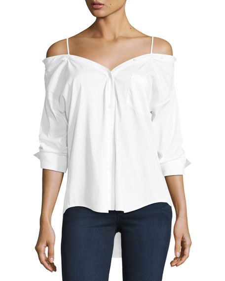 Stoked Cold-Shoulder Button-Front Shirt, White