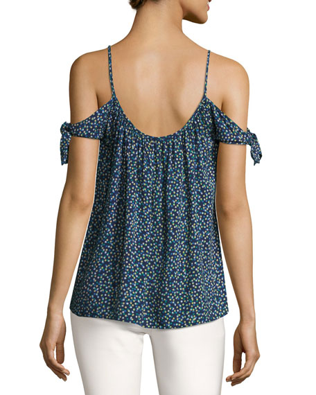Wahine Ditsy Floral Cold Shoulder Top, Blue