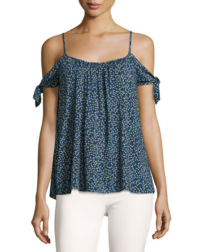 Wahine Ditsy Floral Cold Shoulder Top, Blue
