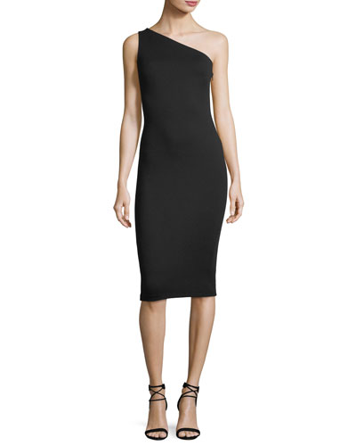 Amped One-Shoulder Crepe Midi Dress