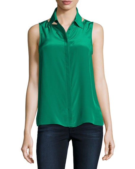 For Sure Button-Front Sleeveless Shirt, Green