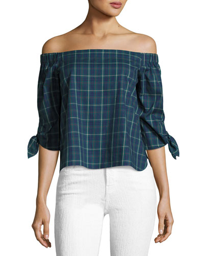 Twin Fin Off-the-Shoulder Top, Blue