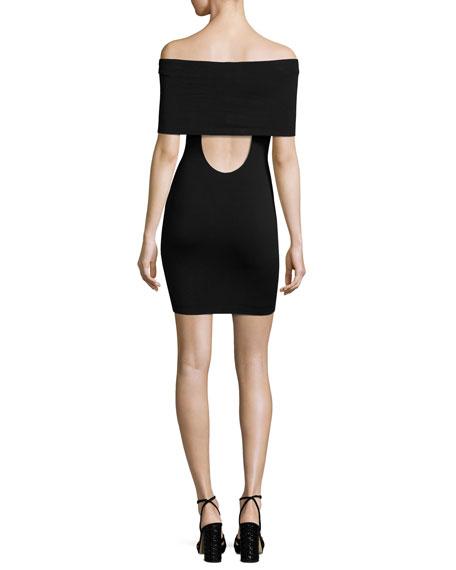 Hot Doggin Popover Body-Con Dress, Black