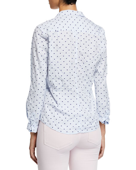 Barry Long-Sleeve Button-Down Shirt, Blue Pattern