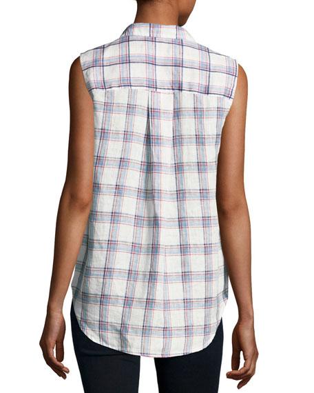 Fiona Sleeveless Button-Down Linen Shirt, White Pattern