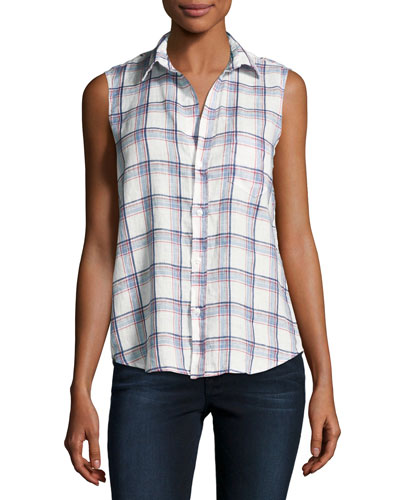 Fiona Sleeveless Button-Down Linen Shirt, White Pattern
