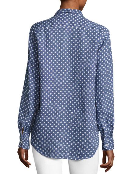 Eileen Long-Sleeve Button-Front Shirt, Blue Pattern