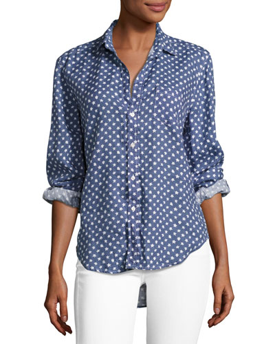 Eileen Long-Sleeve Button-Front Shirt, Blue Pattern