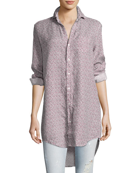 Mary Long-Sleeve Tunic Shirt, Red Pattern