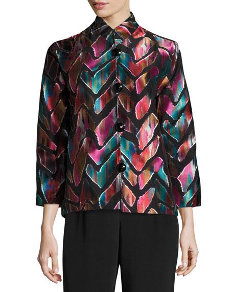 Vivid Dreams Jacquard Bracelet-Sleeve Jacket