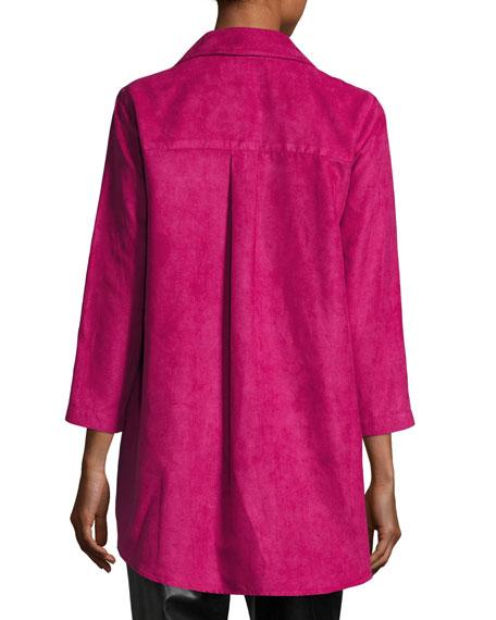 Modern Faux-Suede Long Shirt, Petite