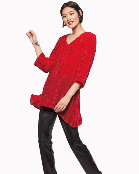 Caroline Rose Plus Size Bi-Stretch Faux-Leather Pants, Black