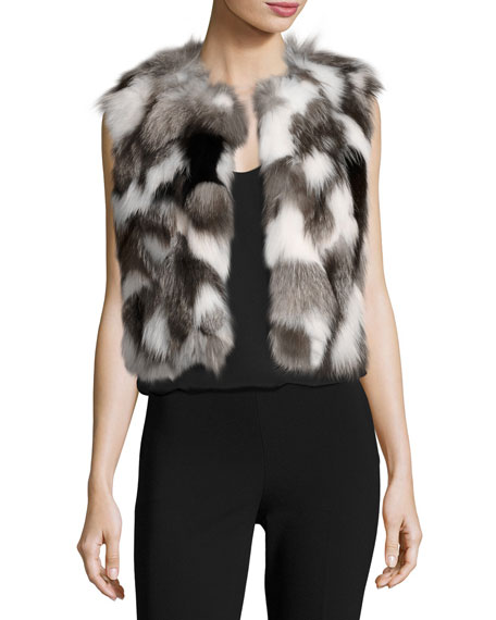 Cropped Patchwork Fox Fur Vest, Gray Pattern