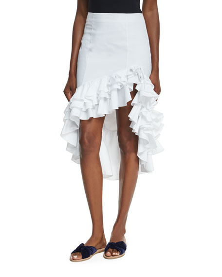 Caroline Constas Pencil Ruffled High-Low Skirt
