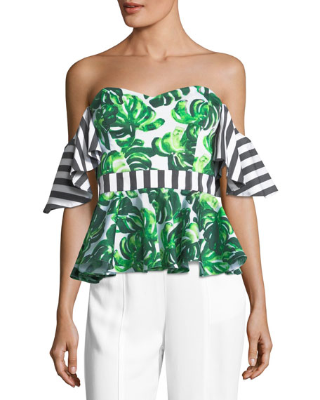 Caroline Constas Irene Off-the-Shoulder Printed Peplum Top
