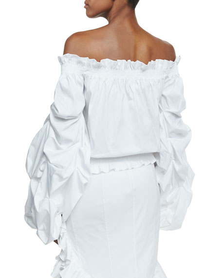 Lorena Off-the-Shoulder Gathered Sleeves Poplin Blouse