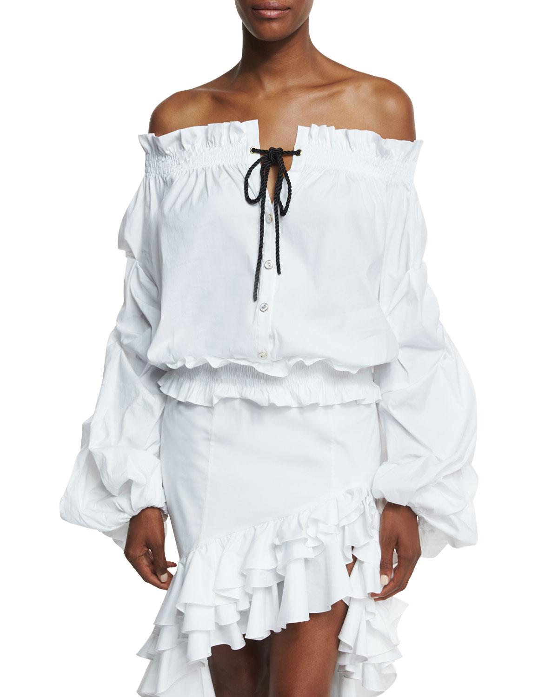 78bd954b1d7 Caroline ConstasLorena Off-the-Shoulder Gathered Sleeves Poplin Blouse