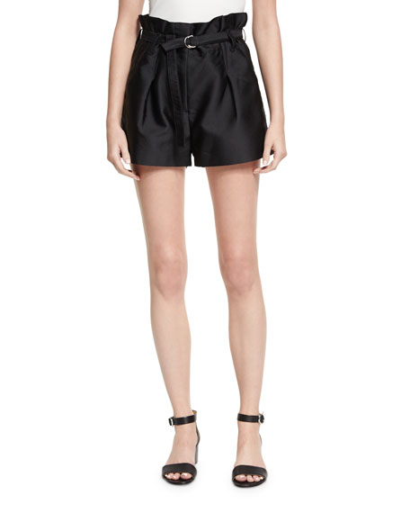 3.1 Phillip Lim Satin Origami Shorts, Black