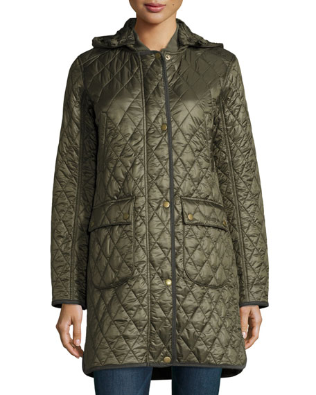 Diamond-Quilted Hooded Utility Jacket, Olive