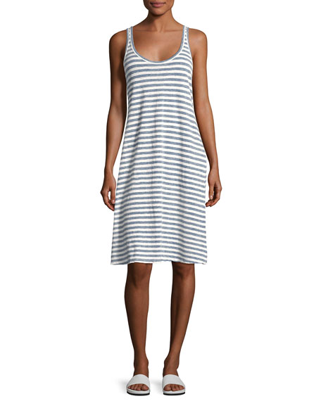 AG Avril Striped Linen Tank Dress, Blue