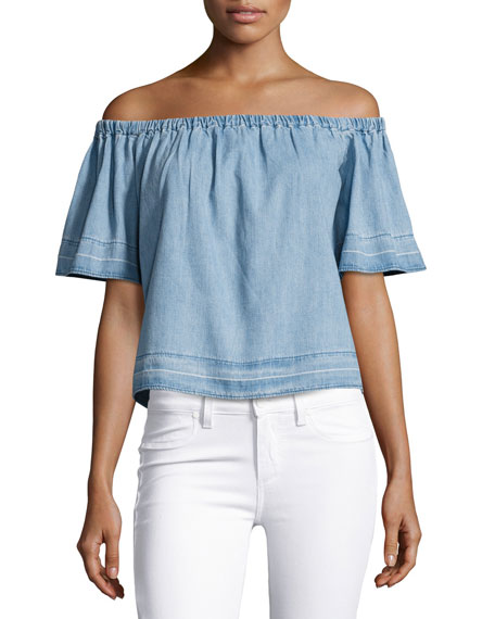 AG Sylvia Off-the-Shoulder Chambray Top, Blue