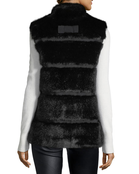 faux fur stand-collar vest with grosgrain inserts