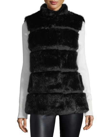 kate spade new york faux fur stand-collar vest
