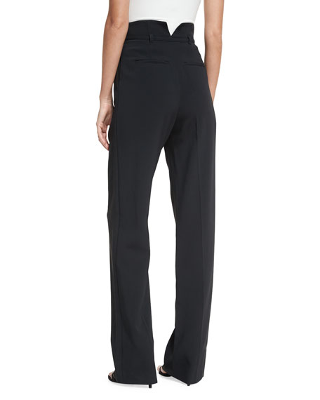 High-Rise Inverted-Pleat Pants w/ Belt