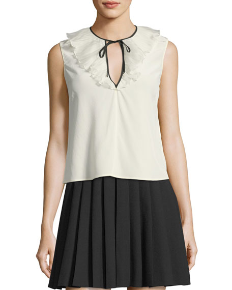 REDValentino Sleeveless Tie-Neck Silk Crepe de Chine Blouse