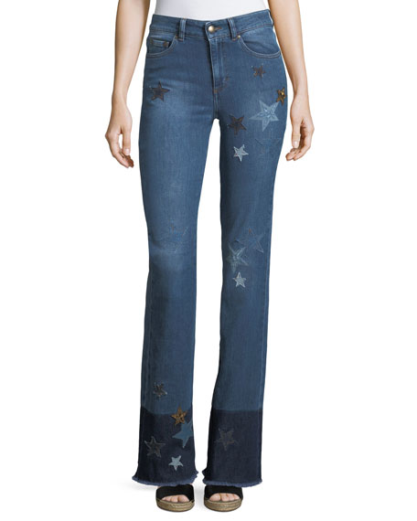 RED Valentino Stone-Washed Stretch Denim Jeans w/ Star