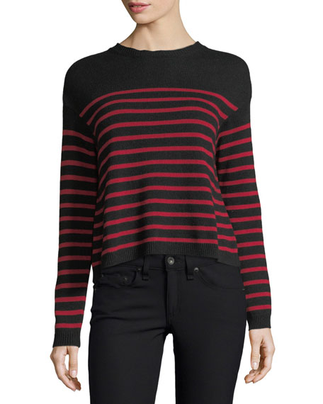 REDValentino Striped Sweater w/ Jacquard Wings & Star