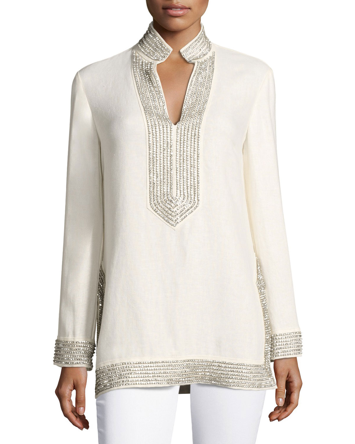 95f1289a2a1112 Tory Burch Crystal-Embellished Linen Tunic