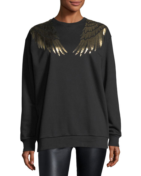 REDValentino Sweatshirt w/ Gold Lamé Wings