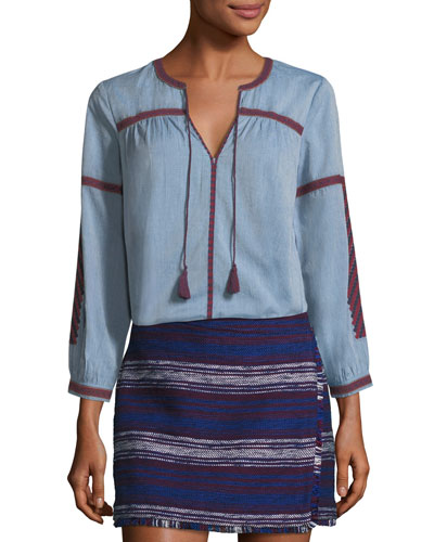 Marlen Split-Neck Cotton Top w/ Embroidery