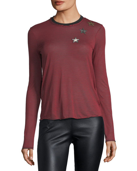 Striped Long-Sleeve T-Shirt w/ Embroidered Star Patches