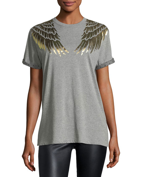 Cotton T-Shirt w/ Lamé Wing Detail