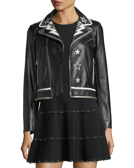 RED Valentino Leather Moto Jacket w/ Star &