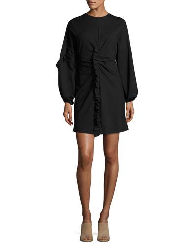 Bond Ruffled Knit Mini Dress, Black