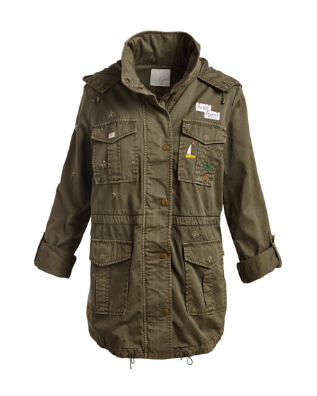 Iban Patchwork Cotton Utility Jacket, Green