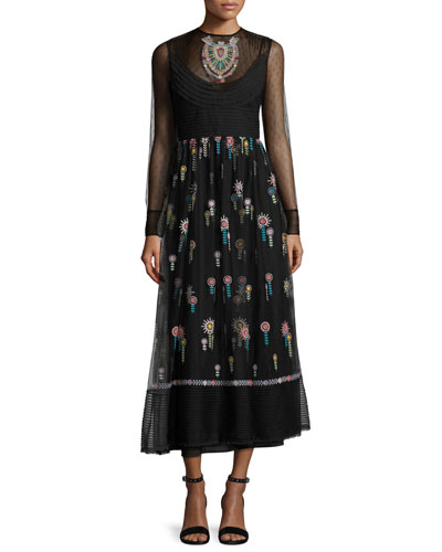 High-Neck Long-Sleeve Point D'esprit Embroidered Dress