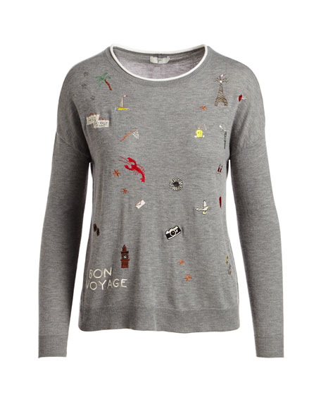 Eloisa B Crewneck Long-Sleeve Sweater w/ Embroidery