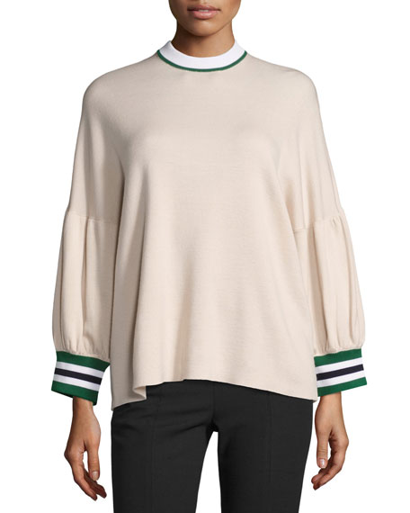 Tibi Oversized Puff-Sleeve Pullover Top, Pink