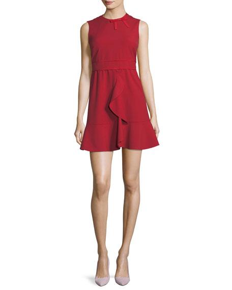 Sleeveless Cady Dress w/ Ruffle & Bow Details