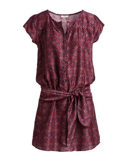 Africa Button-Front Belted Mini Dress