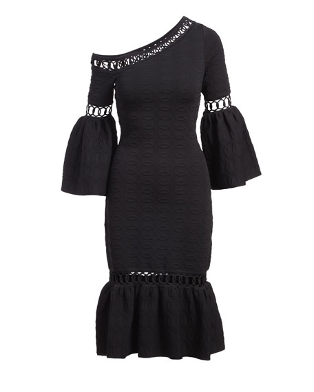 Chain-Link Knit Fit And Flare Midi Dress, Black
