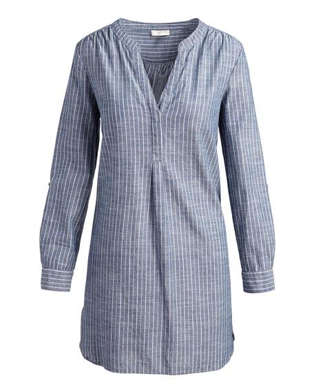 Alannie Striped Cotton Shift Dress, Blue